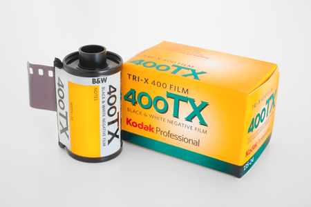 PLEASANT VALLEY - JANUARY 06, 2016: Kodak Tri-X 400 film roll and box. Tri-X is manufactured by the Eastman Kodak Company and is the best selling black and white film in the world.