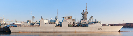 HALIFAX, CANADA - APRIL 25, 2016: HMCS Charlottetown (FFH 339) is a Halifax-class frigate that has served in the Royal Canadian Navy since 1995