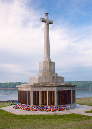 HALIFAX, CANADA - JUNE 26, 2016:  The Sailors Memorial honouring those lost at sea from the Canadian Navy, Merchant Navy and Army.