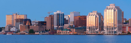 maritimes: HALIFAX, CANADA - JULY 03, 2016: Downtown Halifax skyline at daybreak. Halifax is the capital of the province of Nova Scotia, Canada.