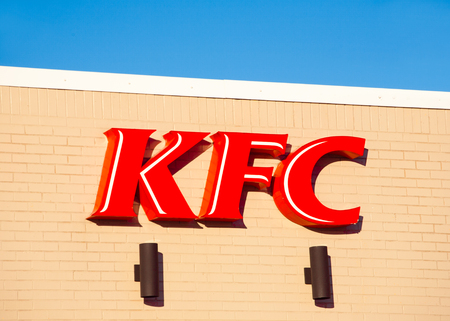 STEWIACKE, CANADA - JANUARY 16, 2017:  KFC or Kentucky Fried Chicken is a fast food restaurant chain specializing in fried chicken.