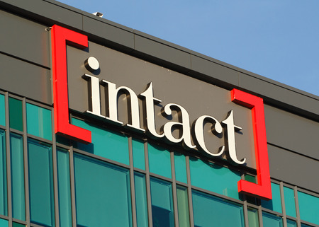 DARTMOUTH, CANADA - JUNE 10, 2017: Intact office buliding sign. Intact Financial Corporation is a Canadian insurance company with approximately eight billion dollars in yearly premiums. Redakční
