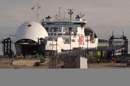 headquarters: CARIBOU, CANADA - MAY 30, 2017: MV Confederation ferry undergoing maintenence. Northumberland Ferries Limited is a Canadian ferry company with its headquarters located in Charlottetowm, Prince Edward Island