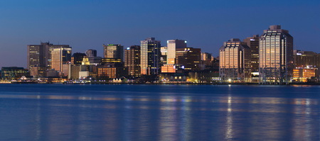 HALIFAX, CANADA - OCTOBER 28, 2017: Downtown Halifax skyline at daybreak. Halifax is the capital of the province of Nova Scotia, Canada. Editorial