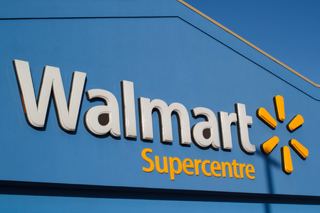 TRURO, CANADA - FEBRUARY 9, 2018: Walmart is an American corporation with chains of department and warehouse stores. Walmart has more than 11,000 stores in 27 countries.