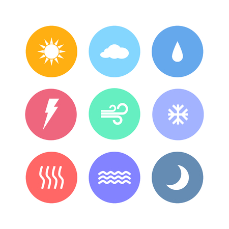 Set of flat design weather icon vectors isolated on white