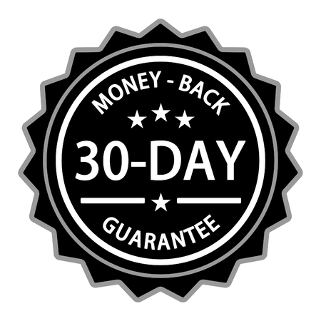 Money back with a thirty day guarantee label on white background. Archivio Fotografico - 100257017