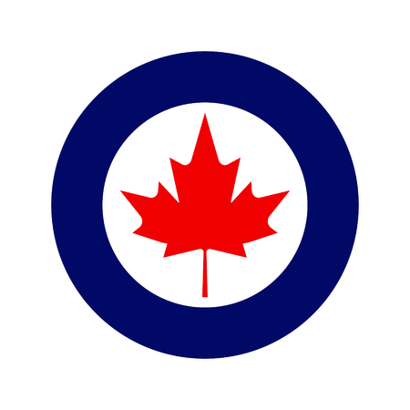 Royal canadian air force military roundel with large maple in center.