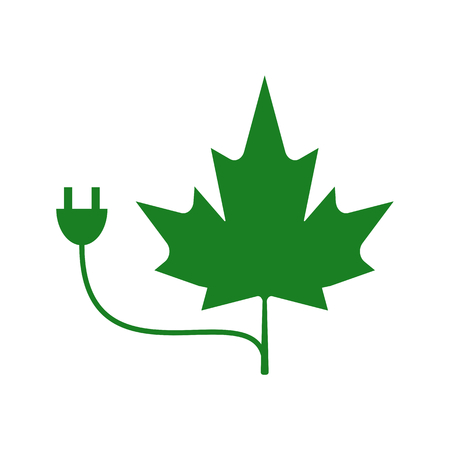 Green energy concept of Maple Leaf merged with electrical power cord. Stock Illustratie