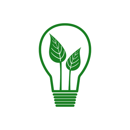 Green energy concept with leaves in light bulb. Flat design. Stock Illustratie