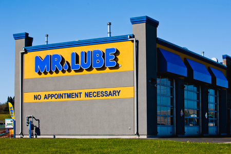 Dartmouth, Canada - May 29, 2014: Mr. Lube service centre. Mr. Lube is a Canadian chain of automotive service centres providing oil changes and other maintenance.