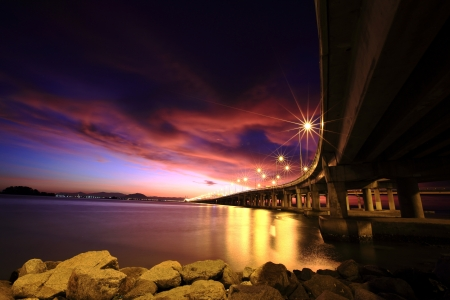 penang: Dramatic sunrise with colorful cloud Stock Photo