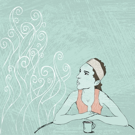Girl sitting in cafe, Hand drawn illustration Vector