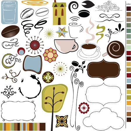 Kaffee und Kaffeehaus Grafiken, Icons, Vektoren Standard-Bild - 14081916