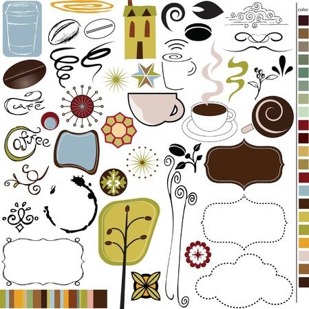 Koffie en Cafe graphics, iconen, vectoren Stock Illustratie