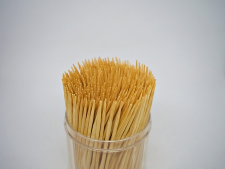 A close up shot on the bottle of toothpick with isolated white background