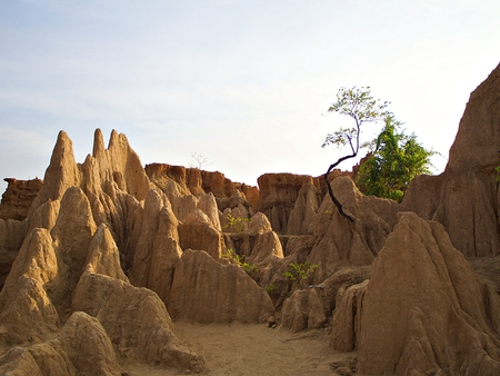 The landscape of earth pillar from the late tertian age with bluesky at Nan, Thailand Stok Fotoğraf