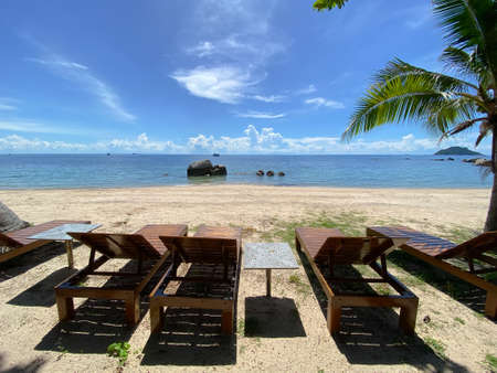 The wood bench on the western beach of Koh Tao Island, Thailand