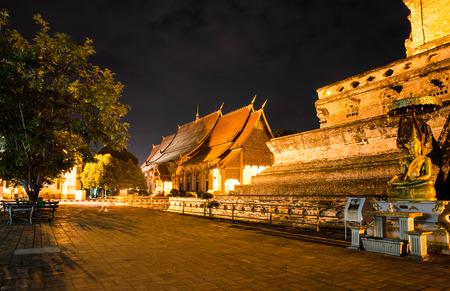 A night scene of Wat Chedi Luang Varavihara Stock Photo