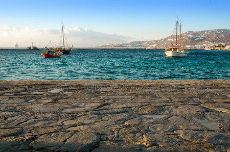 Boats wharf in the Mykonos habour