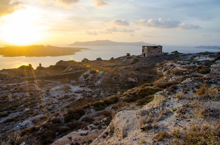wasteland: A sunset at the wasteland on Santorini island, Greece