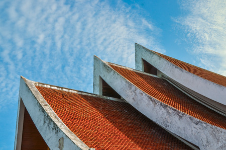 The roof top texture with blue sky Stock Photo