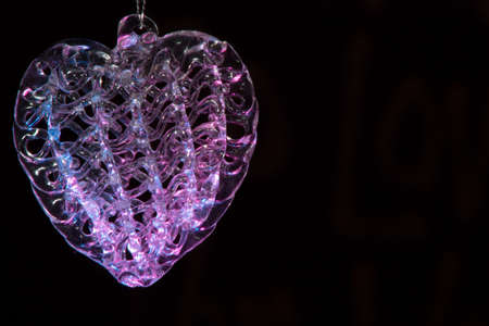 Glass heart glowing