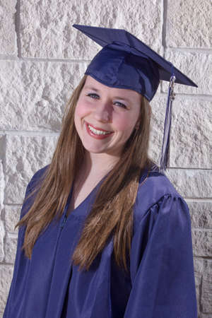 Graduate in a blue gown