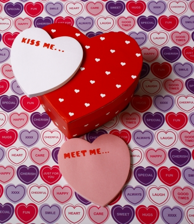 Valentines day messages and heart shapes Stock Photo - 13616365