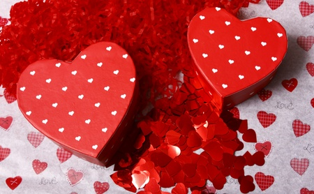 Valentines gift boxes surrounded by heart shapes Stock Photo - 13616368