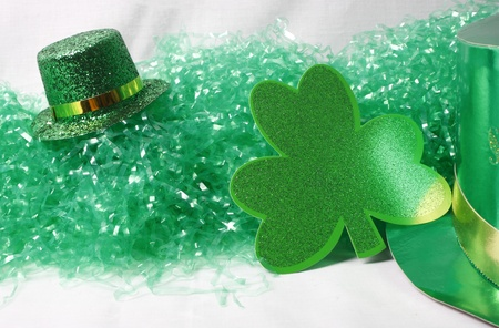 An image showing the concept of St Patricks Day with a green hat and shamrocks Stock Photo - 13638404
