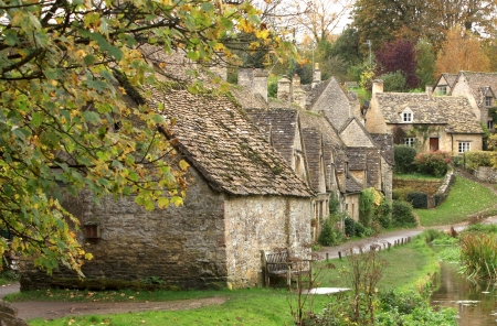 A view of the row of old weavers cottages at Arlington Row in the cotswolds