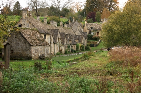 weavers: A view of the row of old weavers cottages at Arlington Row in the cotswolds