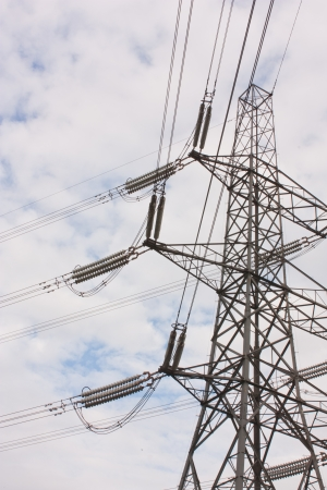 A view of the connections of an electricity pylon photo