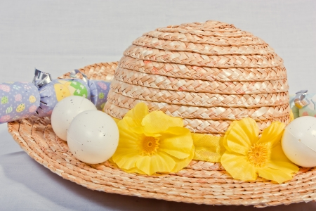 Bonnet and Eggs Stock Photo