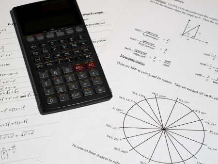 An image of a calculator with some mathematics equations