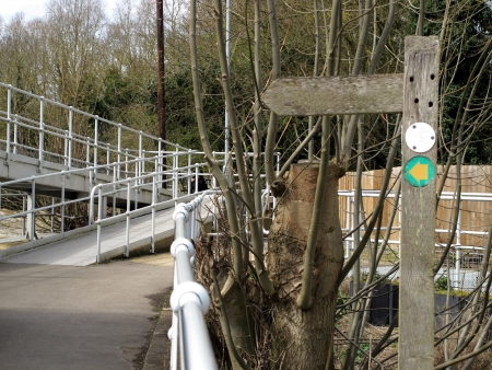 An image of a signpost showing the way to the bridge