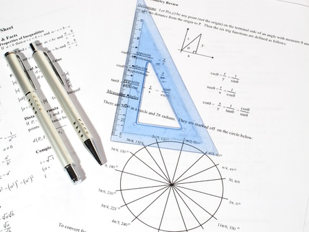 An image showing pens and a triangle