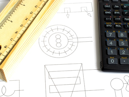 An image showing the concept of learning with a calculator and a pencil case photo