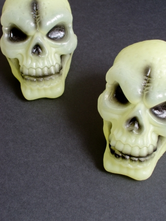 An image showing the concept of Halloween with two scary skulls Stock Photo