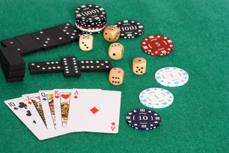 An image showing an assortment of games and chips for betting with photo