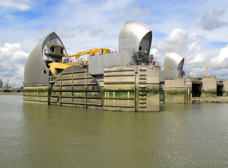 A view of the Thames Tidal Barrier used to stop flood tides photo