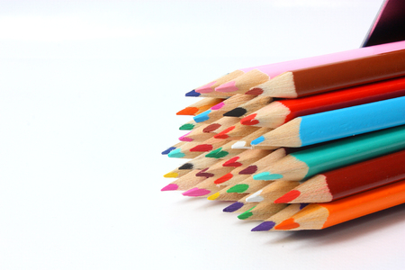 coloured pencil: Close up view of coloured pencil tips Stock Photo