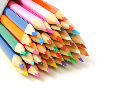 Close up view of coloured pencil tips Stock Photo