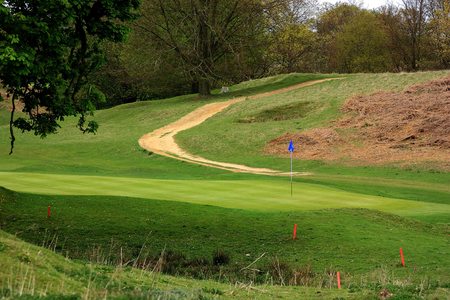 Path through the golf course in the beautiful Kent countryside Stock Photo