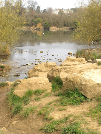 mote: A view of the lake at Mote park near Maidstone in Kent Stock Photo