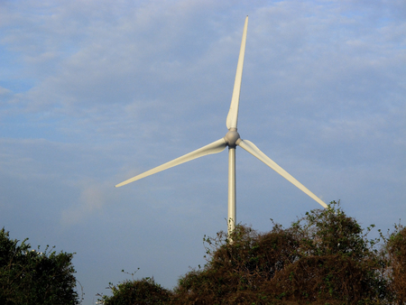 electricity generator: three propellers of a wind powered electricity generator