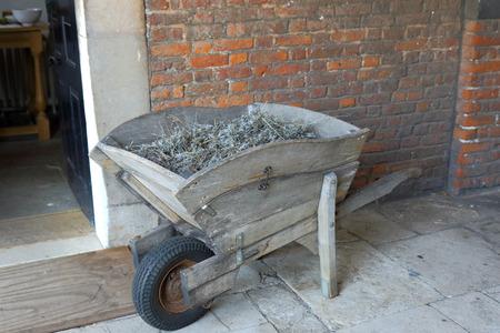 carretilla: Una vieja carretilla de madera llena de hierbas
