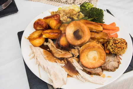 roast meat: A roast dinner with Meat, Vegetables and Yorkshire pudding
