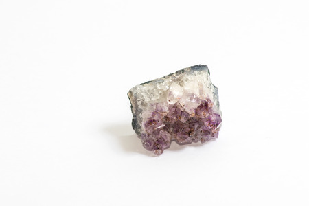 Crystals of the violet coloured gemstone Amethyst Stock Photo